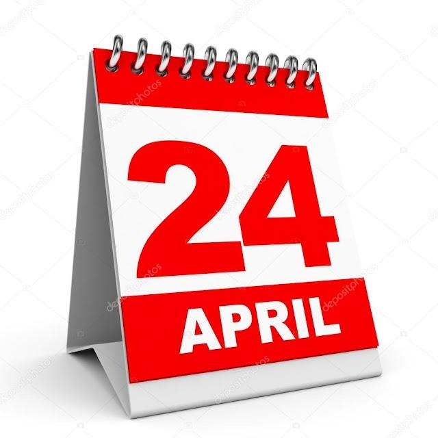 24 de Abril- O dia de hoje na história: fatos e acontecimentos em Elesbão Veloso.