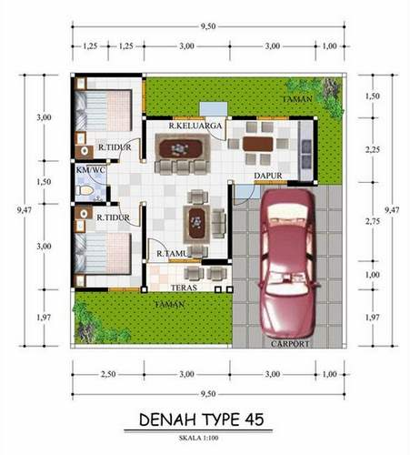Bagaimana Desain Jasa Itu Dilakukan: Kumpulan Denah Rumah Minimalis Type 45 Terbaik 2015