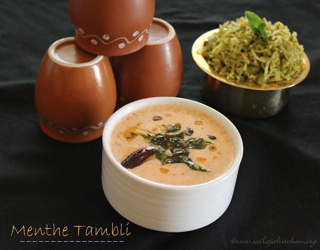 images of Menthe Tambuli / Methi Tambli / Fenugreek Seeds Tambali / Vendhaya Raita / Methi Raita - Udupi Recipes