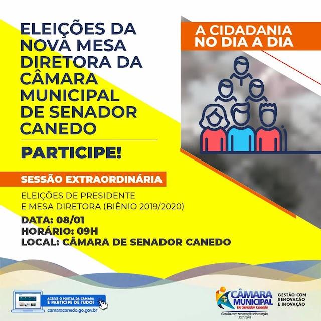 Senador Canedo: Sessão Extraordinária na Câmara define novo presidente