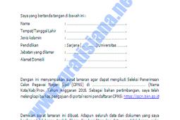 Download Contoh Surat Lamaran CPNS Formasi Oktober 2018