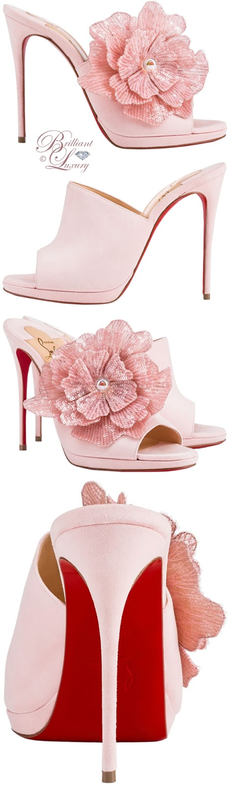 Brilliant Luxury ♦ Christian Louboutin high heel Submuline in soft pompadour suede finished with a single handmade sequin flower accessory on the right foot