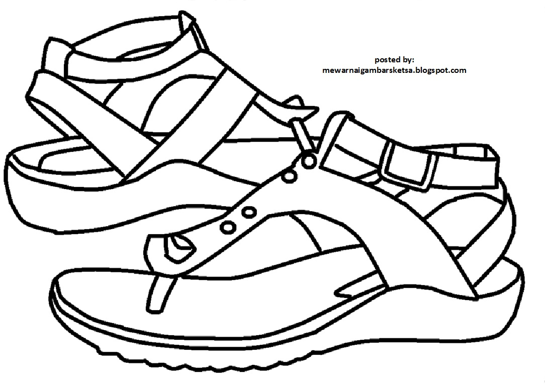 Mewarnai Gambar Mewarnai Gambar Sketsa Sendal Sepatu 1
