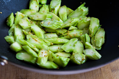 Spicy Stir-Fried Broccoli Stems found on KalynsKitchen.com