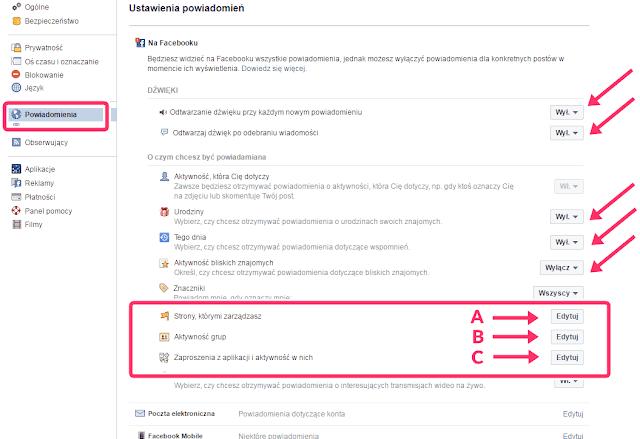 Facebook - ustawienia powiadomień i ich dźwięków