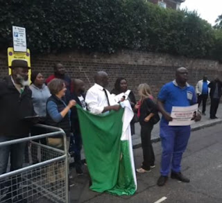 See Photos from the protest Done by Nigerians in front of Abuja House in London yesterday 1