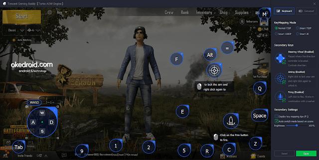 Settingan tombol keyboard atau keymap PUBG Mobile di Tencent Gaming Buddy Emulator PC