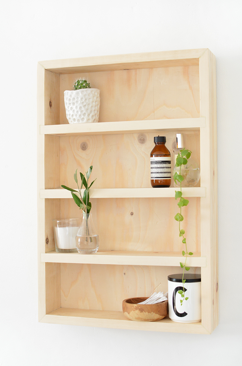 plywood bathroom shelving