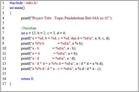 Latihan Program Tipe Data dan Operasi Bahasa C