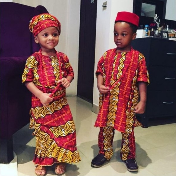 PSquare, Caroline Danjuma, other celebrities dress up their kids in traditional attire for Independence Day