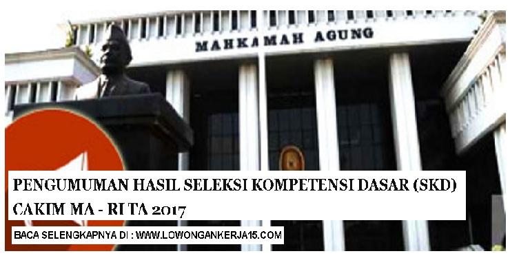 Pembertitahuan Hasil Ujian Seleksi Kompetensi Dasar (SKD) dan Jadwal, Lokasi Ujian SKB Mahkamah Agung tahun 2017