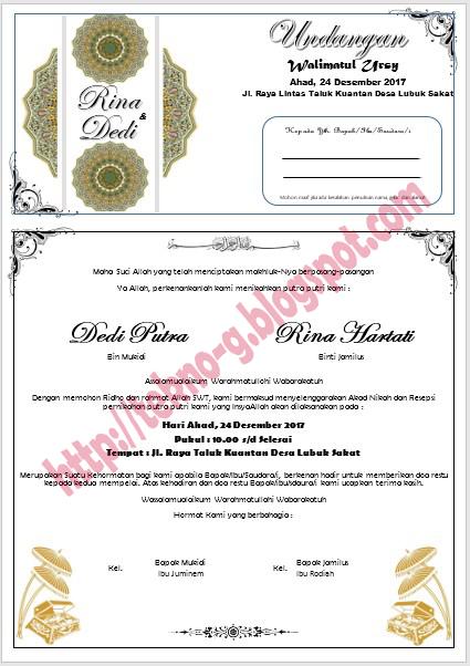 Download Contoh Undangan Pernikahan Walimatul Ursy Dengan Format