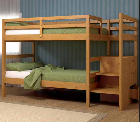 Minimalist and functional wooden bunk beds