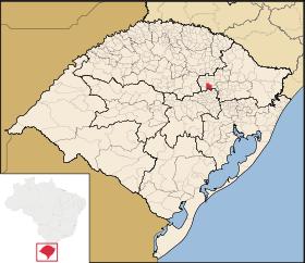 Cidade de Anta Gorda, no mapa do Rio Grande do Sul