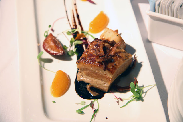 Crispy Pork Belly on a rectangular plate from River Cree Marriott