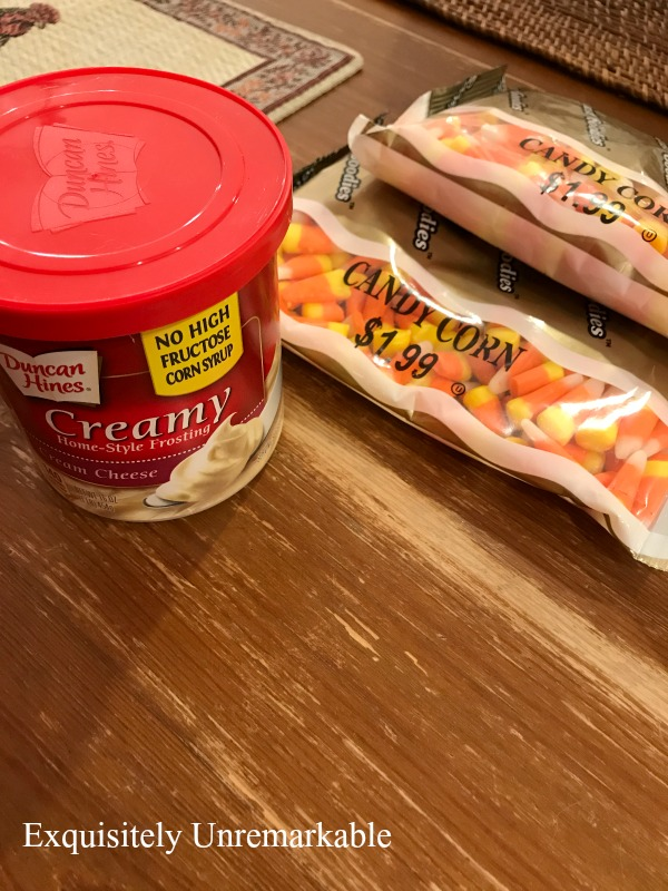 Candy Corn On The Cob Supplies frosting and candy corn