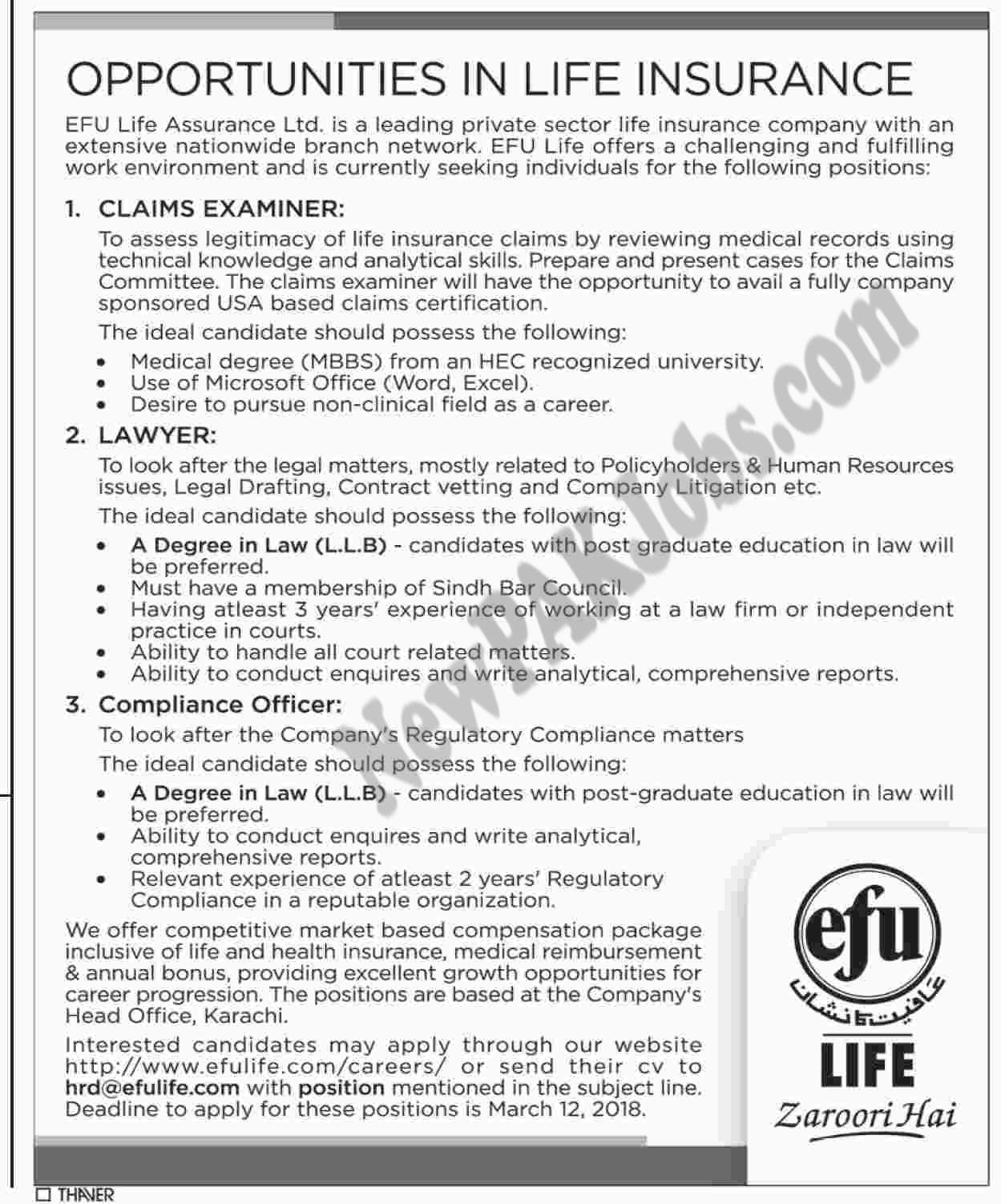 EFU Life Assurance Company Private Limited,