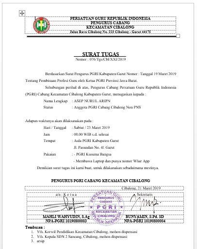 Pgri Contoh Surat Tugas Untuk Mengikuti Sosialisasi Bnn Dan