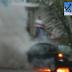 Carro em chamas na avenida Prudente de Morais
