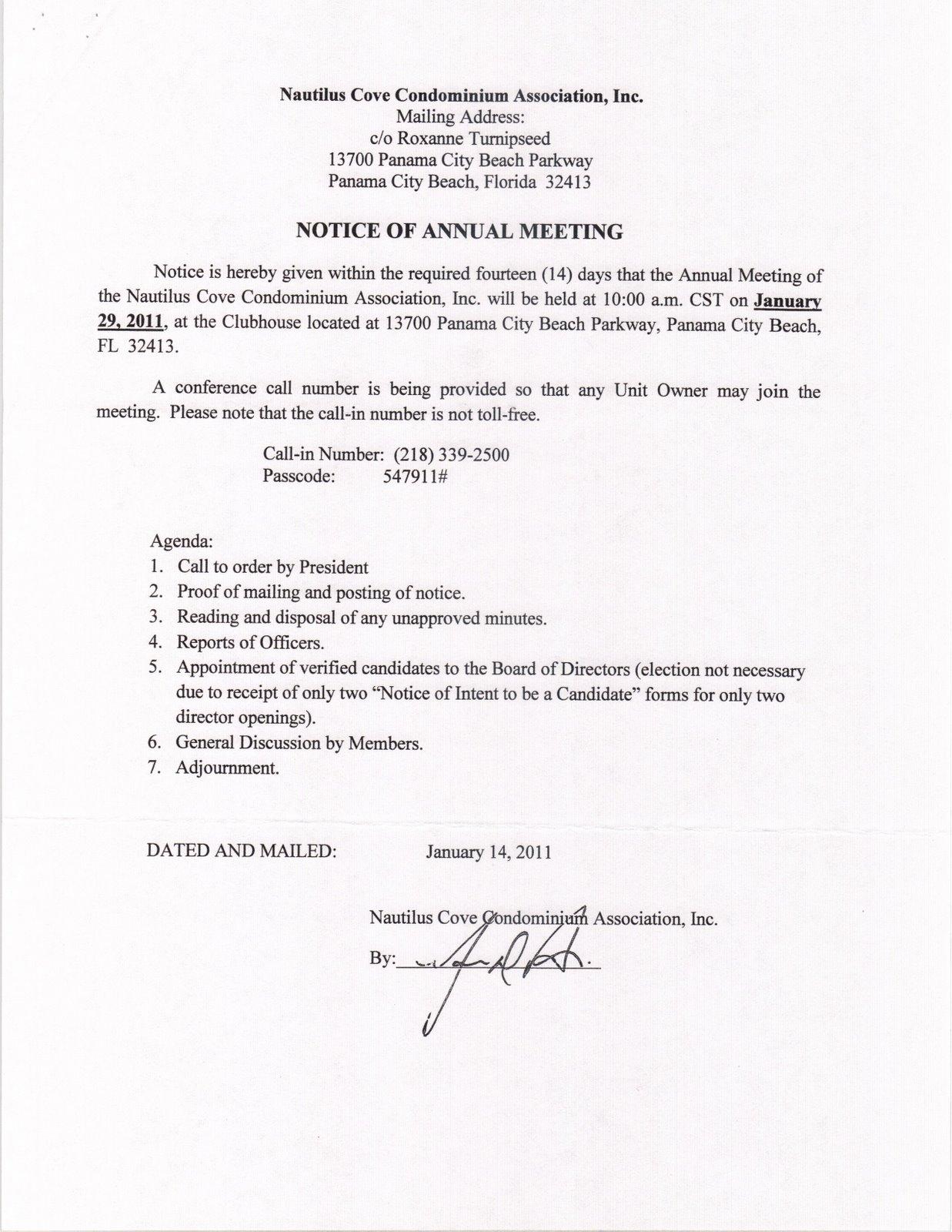 Nautilus Cove Condominium Budgets Past Agms And Bod Meetings