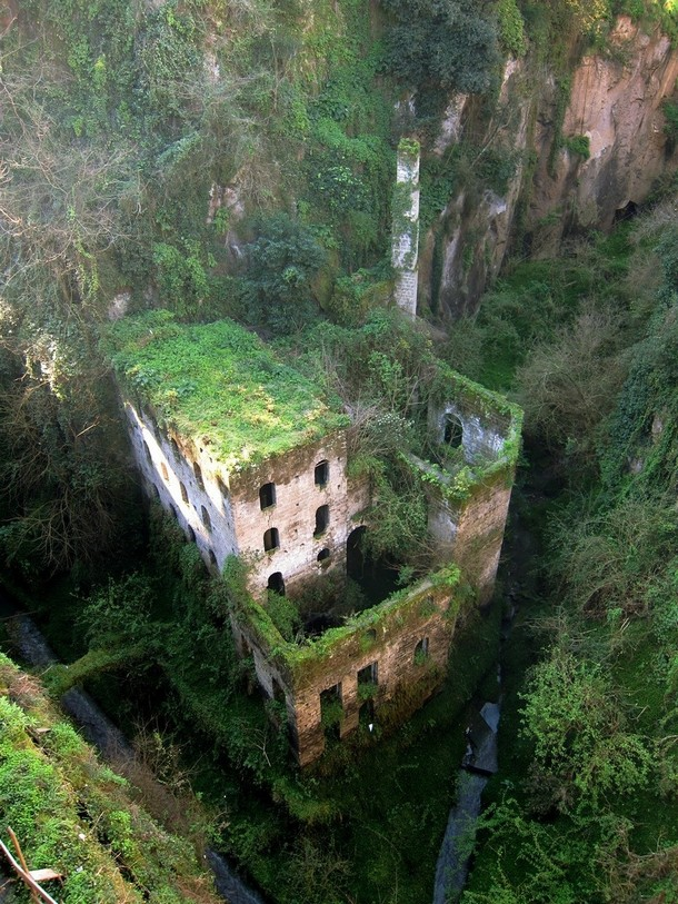 Amazing and Beautiful Abandoned Places  Abandoned mill from 1866 in Sorrento, Italy