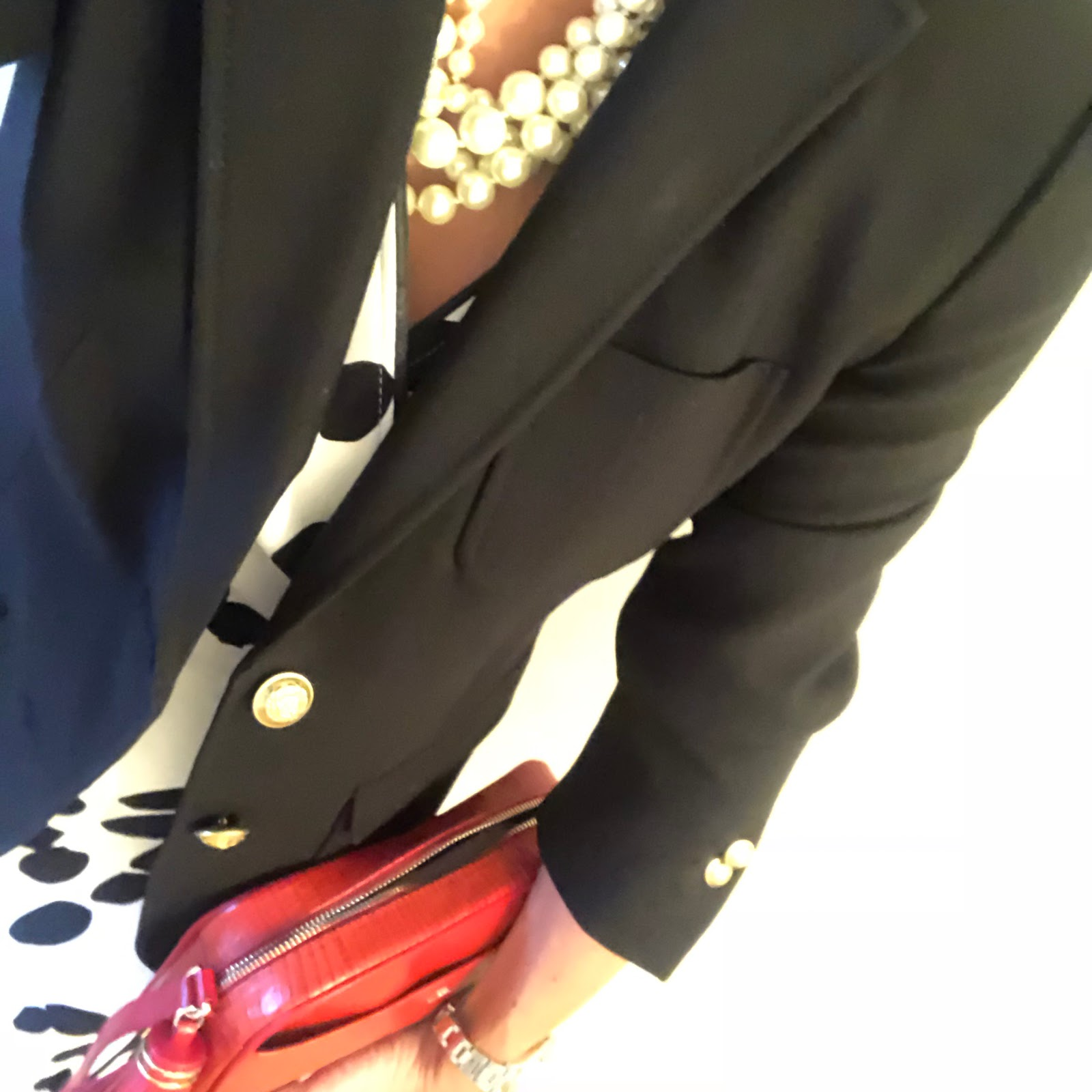 my midlife fashion, j crew rhodes blazer, uterque mock croc crossbody bag, j crew twisted hammock pearl necklace, french sole india ballet pumps, marion murphy cooney monochrome maxi wrap dress