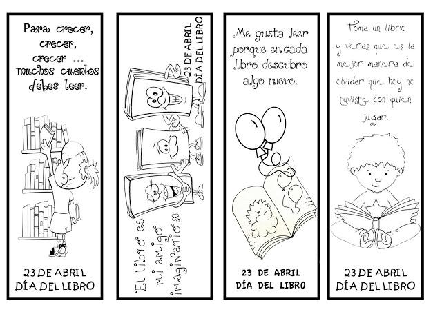 Material educativo para maestros: Marcapáginas, día del libro