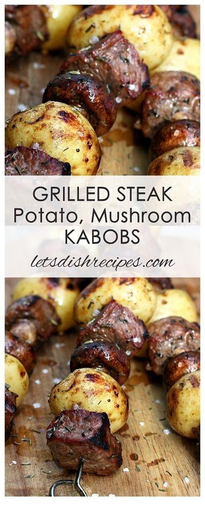 Grilled Steak Potato Mushroom Kabobs