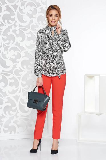 Pantaloni dama corai office cu talie inalta din stofa usor elastica cu buzunare