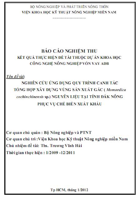 Chuyên đề xây dựng quy trình canh tác gấc ở Đắk Nông