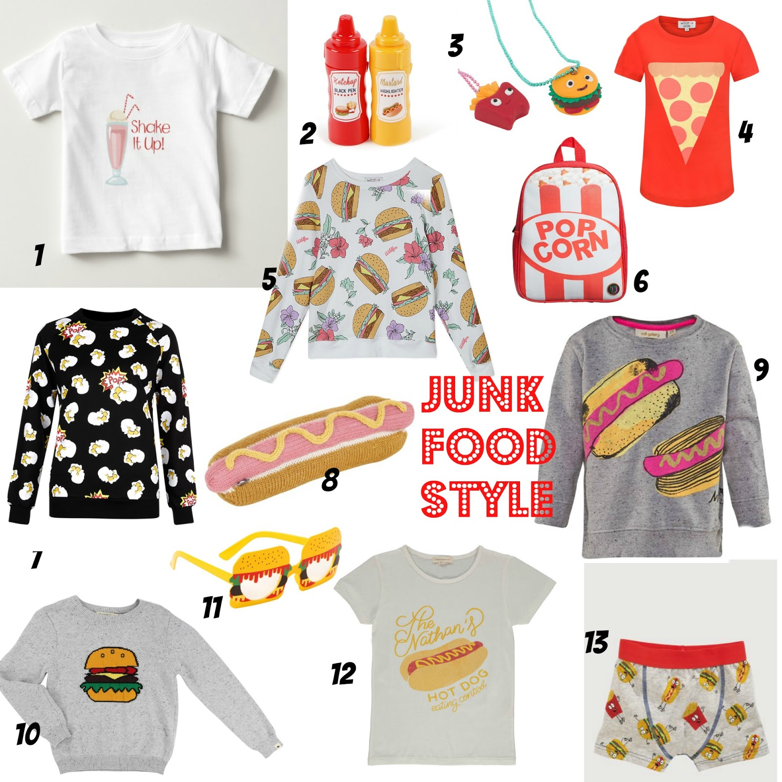 mamasVIB, V. I. BUYS: Fast Food with a side of fashion - junk food gets chic!, hamburger prints, junk food fashion,kids fashion, ho dog prints, kid trends, moschino, mcdonalds fashion, fast food, junk food, popcorn print, milkshake print, hotdog party stall, pizza cake, hamburger cupcakes, mamasvib, fashion
