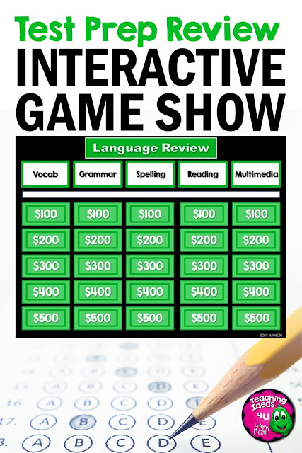 ELA Game Show & Practice Review Test 3rd Grade
