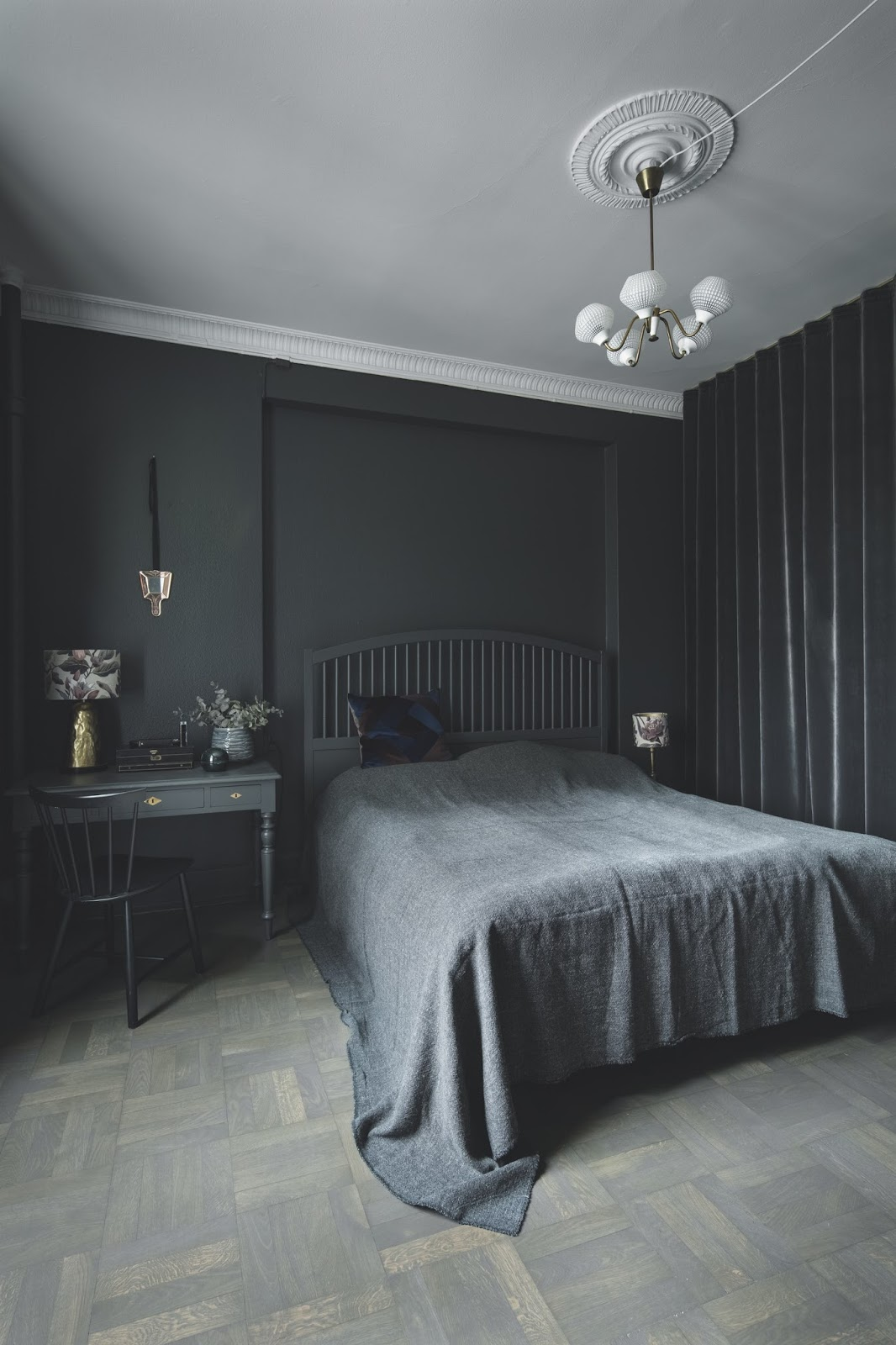 black painted bedroom with an amazing decor