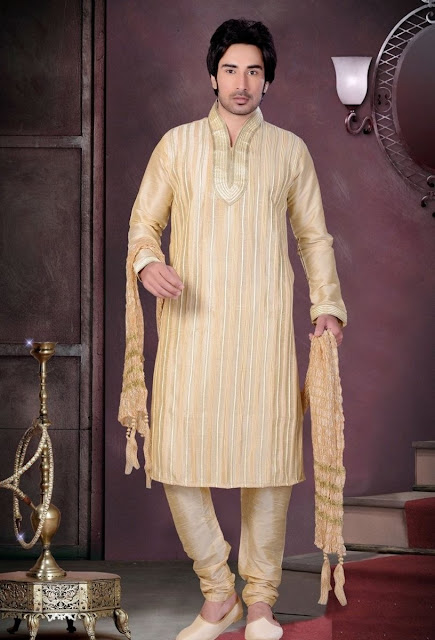 Eid special Gold Color Art Silk Kurta Pajama With Thread Work