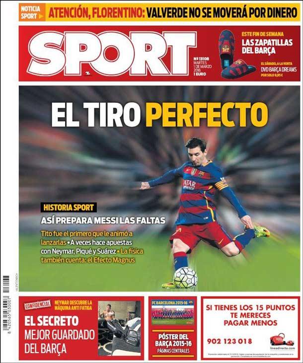 Portada del periódico Sport, martes 1 de marzo de 2016