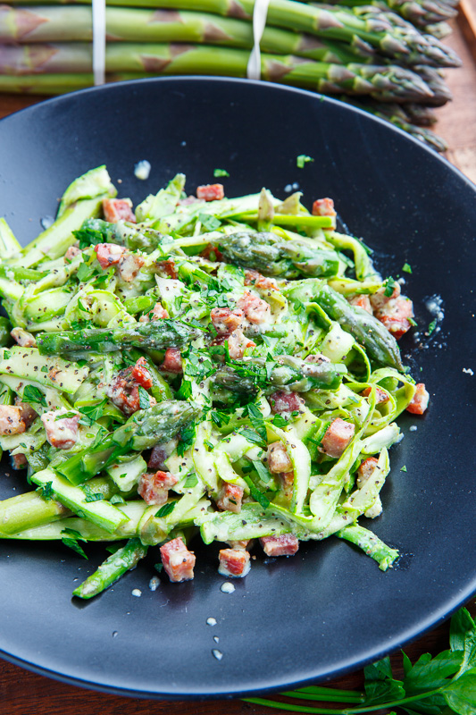 Asparagus Noodle Carbonara on Closet Cooking