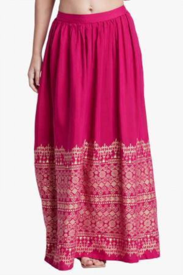 Hot Pink Floral Printed Skirt