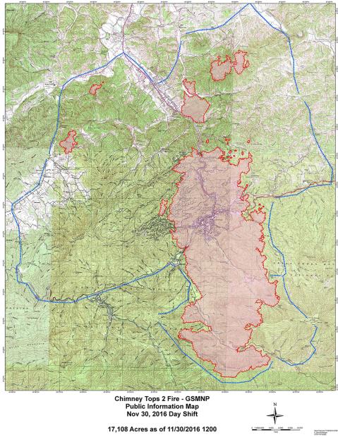 map of gatlinburg fire 2016 - Bing