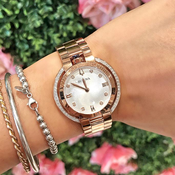 Ella Pretty Blog Rose Gold Sparkle Bulova Diamond Watch
