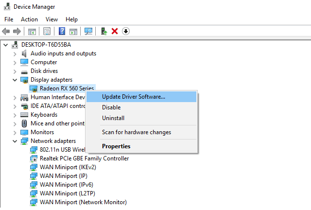 Update Software VGA Device Manager