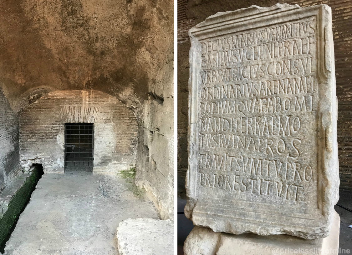 Inside the Colosseum with picture of a dungeon and engraved stone