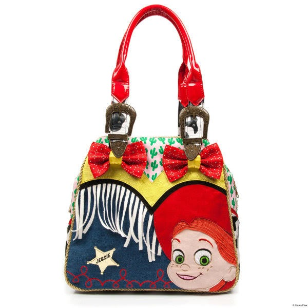 front view of handbag in denim with red bows, white fringing, Western buckles on handles and Toy Story Jessie applique face