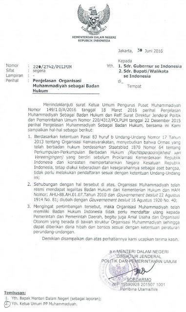 Surat Edaran Kemendagri, Organisasi Muhammadiyah telah memiliki Badan Hukum Indonesia