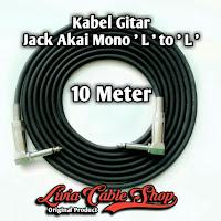 Kabel gitar 10 meter jack akai mono ' L ' to akai mono ' L '