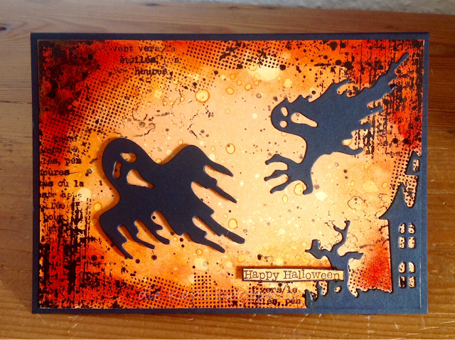 """Halloween Stanzen Aliexpress, Hintergrundstempel Flamingo Art,  """"Kleine Wünsche"""" Stampin´up"""