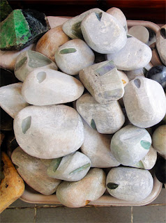 Raw White green and lavender Jade