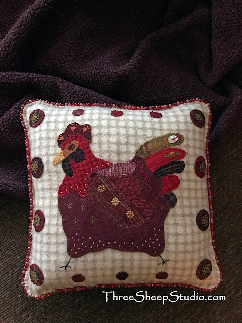 French Country Hen Pillow by Rose Clay at ThreeSheepStudio.com