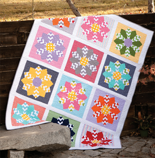 Chevron Flowers Quilt Free Pattern