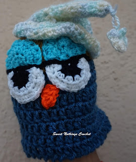 free crochet pattern, free crochet headwear pattern, free crochet beanie pattern, free crochet new born baby cap, free crochet preemie baby cap, free crochet owl cap, free crochet sleeping owl cap, Oswal Cashmilon, donation ideas,