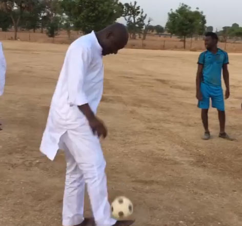 Video: Abdulmumin Jibrin plays football with his constituents